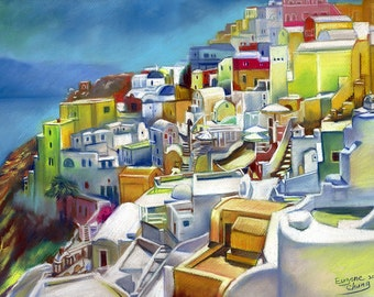 "Greece Santorini Landscape painting, poster, print, Canvas, drawing by artist eugene, 16""x20"",22.4""x28"",30""x40"",24""x40"""