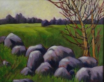 """Original landscape painting, big rocks, distant trees and vivid colours, 20x16x3/4"""""""