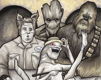 Spaceballs Star Wars Guardians of the Galaxy Barf Chewbacca Groot Original Sketch Cover