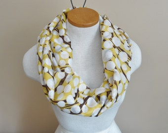Hand Made Infinity Scarf Yellow And Brown Print