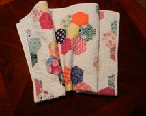 Spring SALE!  NEW! Grandmothers Flower Garden Quilt, Terrain by Kate Spain, Lap Quilt, Baby Quilt, Custom Quilted Throw