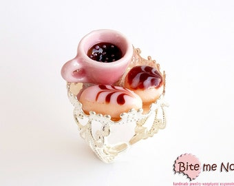 Mini Food Tray with French Pastries and Coffee Ring, Miniature Sweet, Polymer Clay Sweets, Mini Food Jewelry
