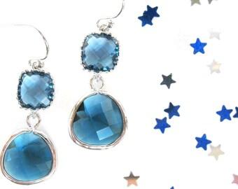 Navy blue earrings Montana blue earrings Crystal blue bridesmaids earrings Blue bridesmaids jewelry Navy earrings