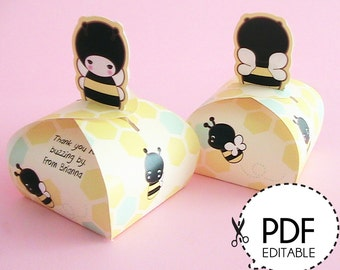 Honey Bee Mini Favor Box Printable PDF Download