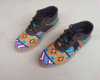 Ethno canvas shoes Ikat orange turquoise handmade Rangkayo casual sneakers Preorder women