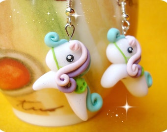 Blue Pink Purple Polymer clay earrings My Little Pony and Marshmallow Kawaii