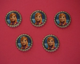 Disney Frozen Anna Finished Flattened Bottle Caps A6