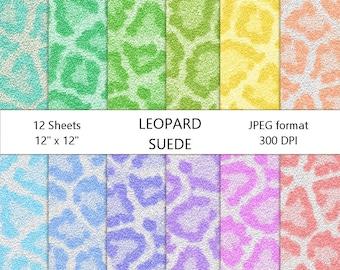 Leopard Suede Digital Paper Pack   Pastel Colors    Pink   Blue   Green   Aqua   Peach   Lavender   Instant Download