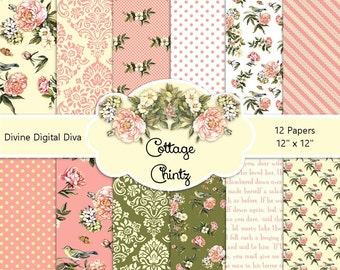 Cottage Chintz Digital Paper Pack | Pink Roses | Instant Download