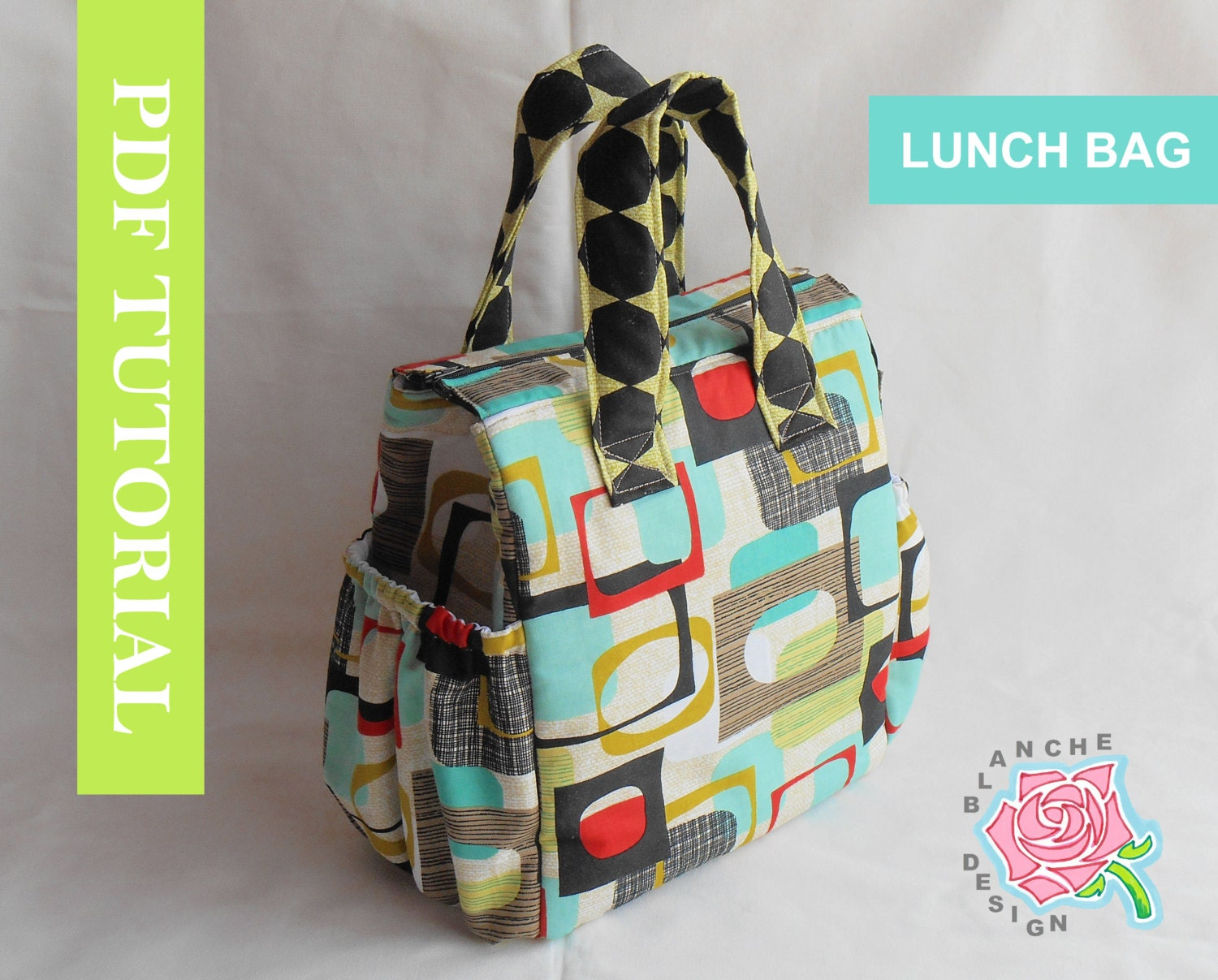 Insulated lunch bag pdf pattern tote sewing by