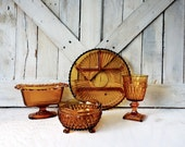 Vintage Amber Glass Serving Platter, Bowl, Cup-Set of 4 Mismatched Collection