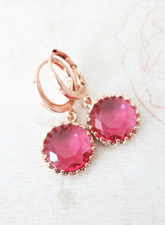 Rose Gold Ruby Red Glass drop Levered back Earrings - gifts for her, bridal pink rose gold weddings bridesmaid earrings jewelry