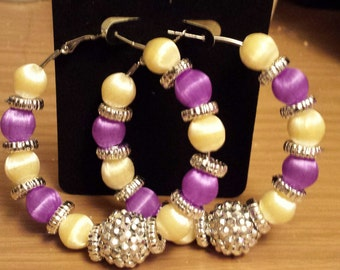 Prom and wedding purple and ivory hoop