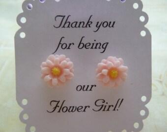 Daisy Earrings, Flower Girl Earrings, Flower Girl Gift, Bridesmaid Earrings, Flower Girl Jewelry, Kids Earrings, Childrens Earrings,