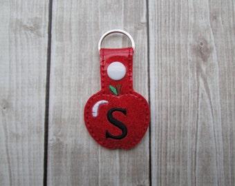 Monogram Apple Key Chain, Apple Keychain, Teacher Gift, Teacher Appriciation, Monogram Teacher Gift