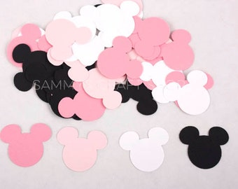 100 Black, Pink and White Minnie Mouse Confetti, Minnie Mouse Die Cuts, Baby Minnie First Birthday Party, Minnie Mouse Baby Shower