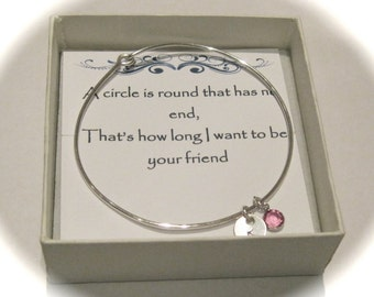 Sterling Silver Initial & Birthstone Charm Bangle
