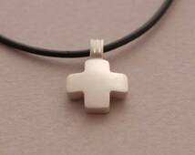 Tiny Dainty Cross Pendant Necklace for Women in Sterling Silver ST673a