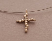 Tiny Unique Cross Pendant Necklace for Women in Sterling Silver ST659a