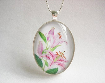 CLEARANCE 40% OFF PINK Lilies Original Art Flower Pendant Botanical Necklace Pink Flower Jewelry