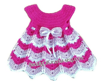 Baby girl dress pattern 0-12 months with a shevron looking skirt newborn girl crochet  dress.   Digital pattern.