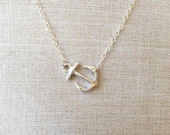 Sideways anchor sterling silver necklace, must have item :)