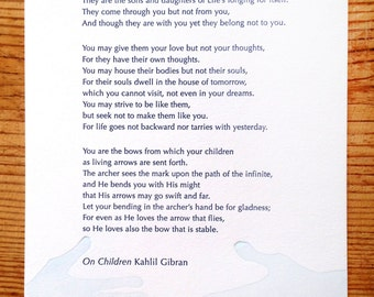 On Children: Letterpress Broadside