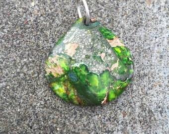 Green sea sediment jasper, jasper pendant, stone necklace, stone pendant, jasper necklace, natural pendant, statement pendant, stone jeweler