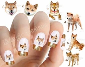 Nail Decals, Water Slide Nail Transfers, Nail Stickers, Dogs Photo Shoot - Shiba Inu