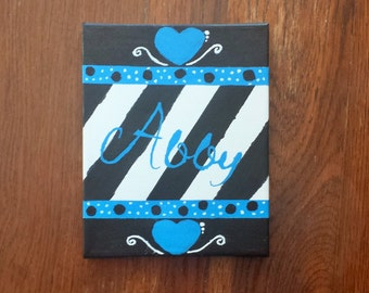8x10 Canvas Wall Art-Abby-blue, white and black-ready to ship