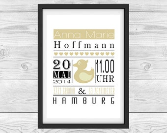 """Birth announcement personalized """"yellow duck"""""""