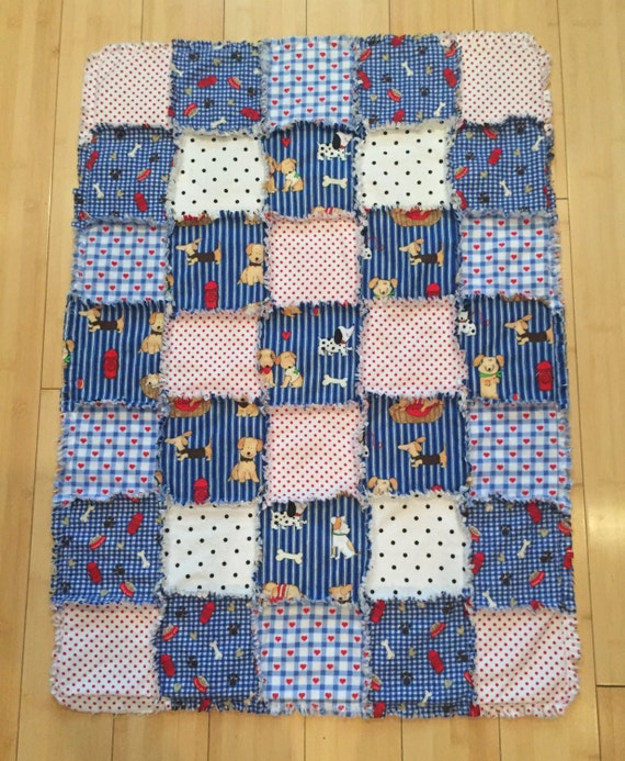 Dog Flannel Quilt Dachshund Blanket Dog Crate Blue Red