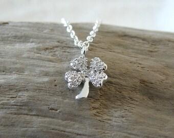 Four Leaf Clover Silver Necklace, Cubic Zirconia Four Leaf Clover Pendant, Good Luck Necklace, Lucky Charm, Graduation Gift