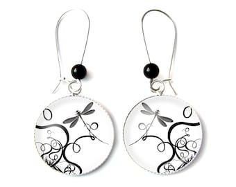 Dragonfly earrings & Onyx beads