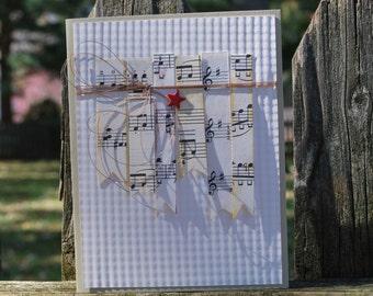 Handmade Greeting Card: vintage sheet music, banner, red star