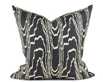 "Kelly Wearstler AGATE Designer Pillow Cover in Ebony & Beige, Lumbars, Lee Jofa Groundworks  16"", 18"", 20"", 22"", 24"" sq."