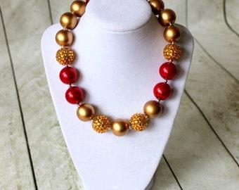 girls christmas chunky bubblegum bead necklace gold and red necklace girl necklace chunky necklace pearl rhinestone 20mm