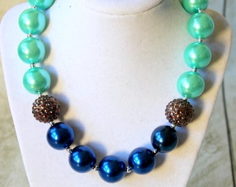 Chunky bubblegum necklace aqua blue brown girls chunky bead necklace christmas chunky necklace toddler holiday chunky bead necklace
