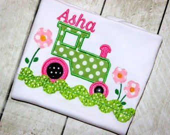 Girls tractor shirt pink yellow and green baby girl shirt personalized embroidered top tractor birthday clothing