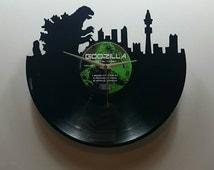 Godzilla Skyline Record Clock