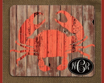Monogram Nautical Rustic Crab Hardboard Trivet Personalized Kitchen Hot Pad Hot Plate New Home Gift Wedding Housewarming Gift Nautical Decor