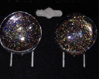 Multicolored Glitter Glass Earrings