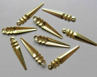 200pcs Raw Brass Spike Charms, Findings 23mm x 4.5mm - F200
