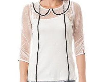 Lace Sheer top, vintage style, peter pan collar with black details.