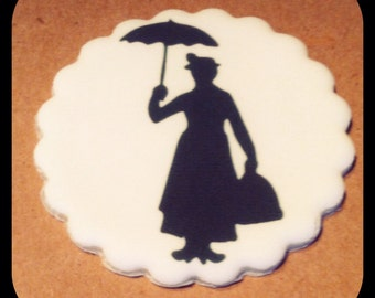 Mary Poppins Cupcake or Cookie Topper.