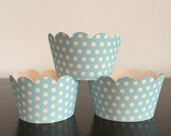 12 Cupcake Wrappers - Blue w/ White Polka Dots