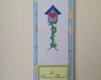 Bird house cross stitch original handmade card with the wording 'For someone special'