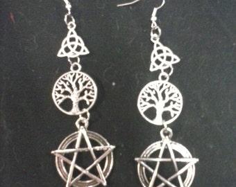 pentagram charm earrings