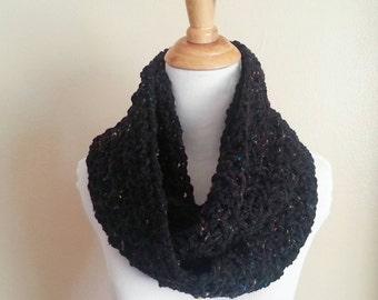 Black infinity scarf , infinity scarf, chunky black scarf, Crochet, scarf, cowl, neckwarmer, fashion scarf, chunky scarf, winter accessories
