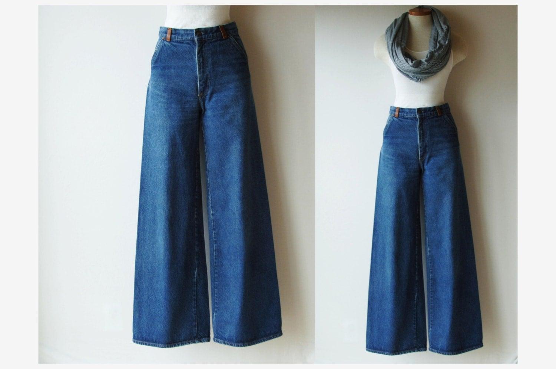 70s Levi's Wide Leg Denim Pants/ Orange Tab/ by RedLetterStyle